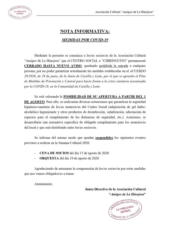 NOTA INFORMATIVA - Covid-19