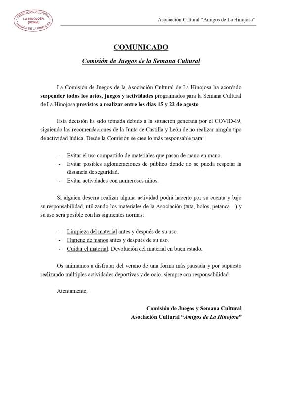 Comisión Juegos Comunicado