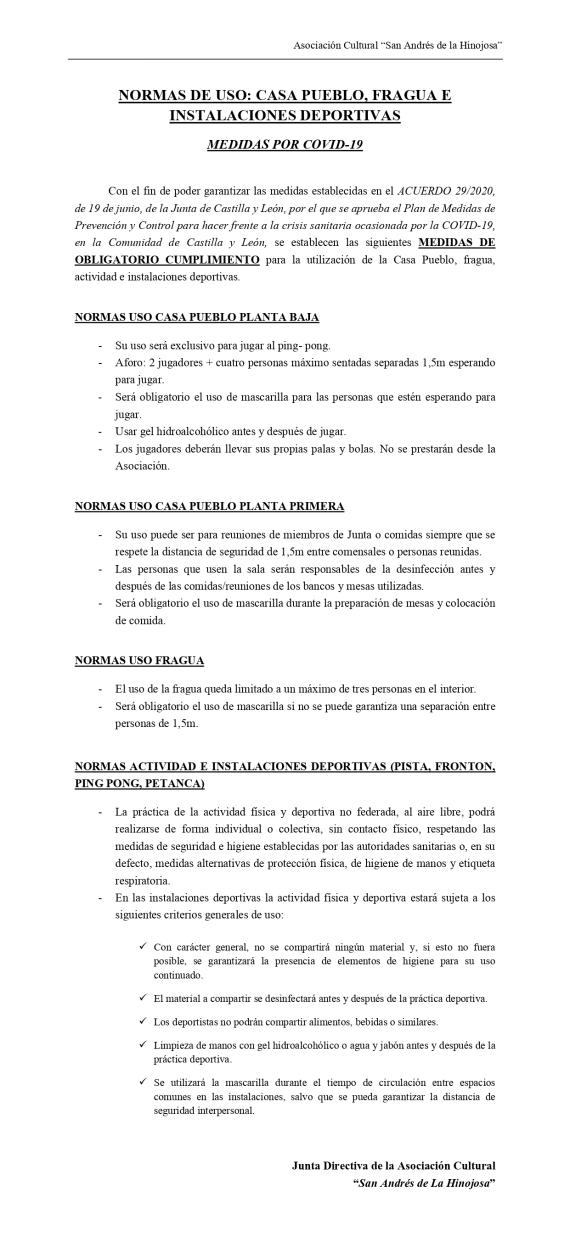 NORMAS USO Casa Pueblo, Fragua y Deportes